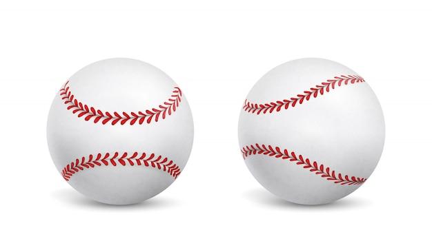 Nowe piłki baseballowe na białym tle realistyczne wektor Darmowych Wektorów