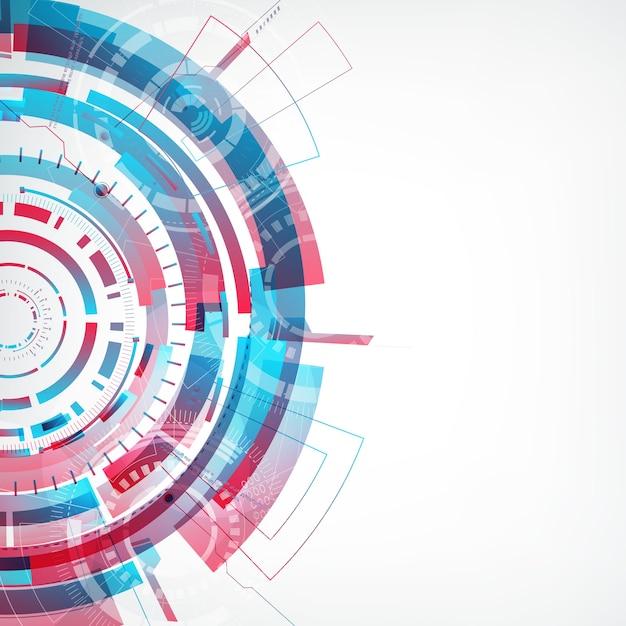 Nowoczesna Abstrakcyjna Technologia Wirtualna Z Kolorowym Okrągłym Kształtem Po Lewej Stronie Płaskiej Darmowych Wektorów