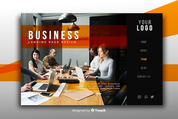Nowoczesna biznesowa strona docelowa ze zdjęciem Darmowych Wektorów