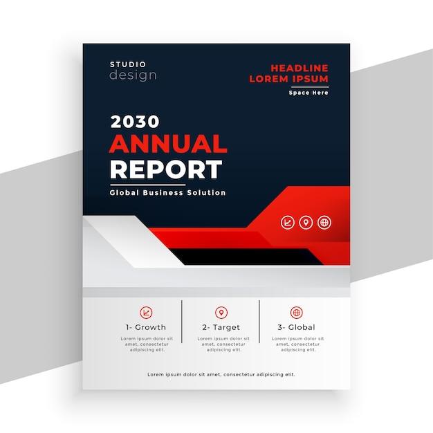 Nowoczesna Broszura Raportu Rocznego W Kolorze Czerwonym Darmowych Wektorów