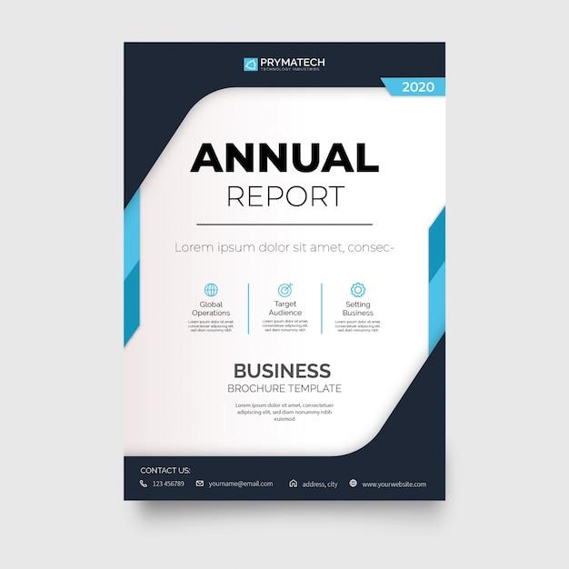 Nowoczesna broszura rocznego raportu z abstrakcyjnymi kształtami Darmowych Wektorów
