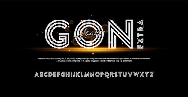 Nowoczesna Czcionka Alfabet Nagrody. Czcionki Wyróżniające Typografię Premium Wektorów