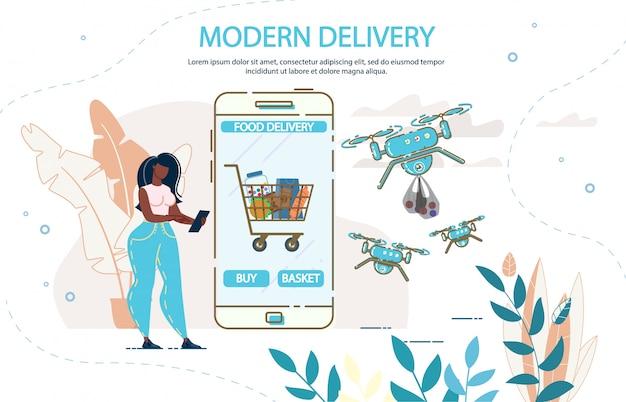 Nowoczesna Dostawa Dronów I Aplikacja Mobilna Premium Wektorów