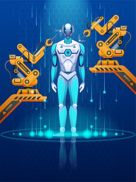 Nowoczesna Fabryka Lub Laboratorium Z Futurystycznymi Zautomatyzowanymi Narzędziami Pracy. Linia Montażowa Robota Produkująca Cyborga W Fabryce. Premium Wektorów