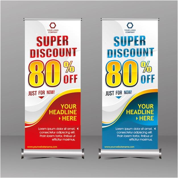 Nowoczesna geometria rollup stojąca szablon banner super zniżka specjalna oferta sprzedaży Premium Wektorów