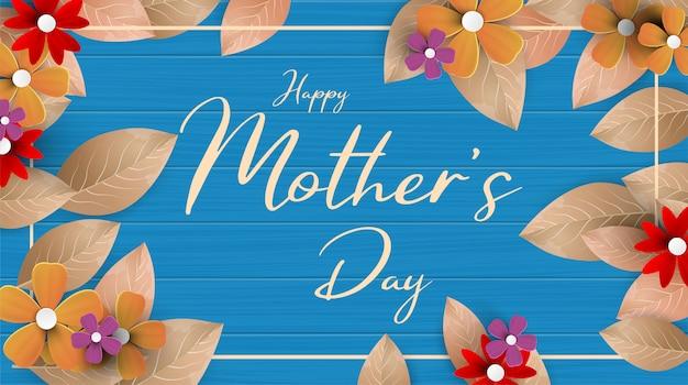 Nowoczesna Ilustracja Szczęśliwego Dnia Matki, Z Papierowymi Kwiatami I Listem Dalej. Szczęśliwy Dzień Matki Kartkę Z życzeniami Z Pięknym Tle Kwiatów Premium Wektorów