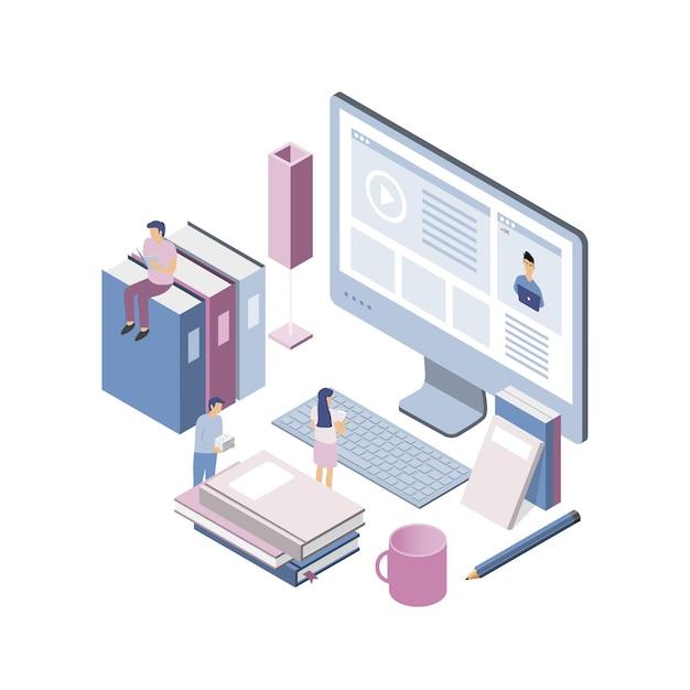 Nowoczesna Izometryczna Koncepcja Edukacji Online Dla Strony Internetowej I Strony Mobilnej. Premium Wektorów