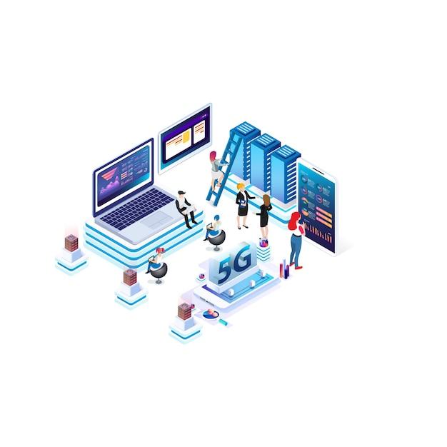 Nowoczesna Izometryczna Technologia Prędkości Internetu Na Potrzeby Rozwoju Technologii Komunikacyjnych Premium Wektorów