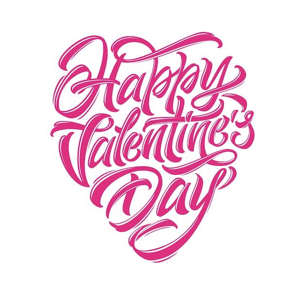 Nowoczesna Kaligrafia Pędzla Na Dzień świętego Walentego Gratulacje. Typografia Happy Valentine's Day W Formie Serca. Ilustracja Na Białym Tle. Eps 10. Premium Wektorów