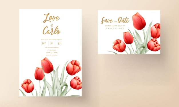 Nowoczesna Karta Zaproszenie Na ślub Z Pięknym Czerwonym Tulipanem Kwiatem Darmowych Wektorów