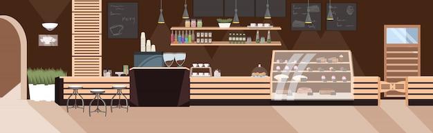 Nowoczesna Kawiarnia Pusta Restauracja Bez Ludzi Z Meblami Kawiarnia Wnętrze Płaskie Poziome Premium Wektorów