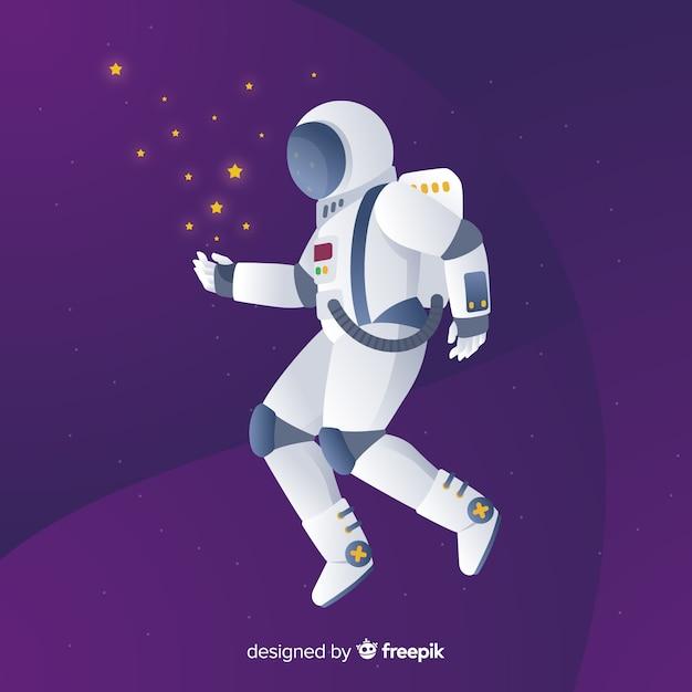 Nowoczesna kompozycja astronautów o płaskiej konstrukcji Darmowych Wektorów