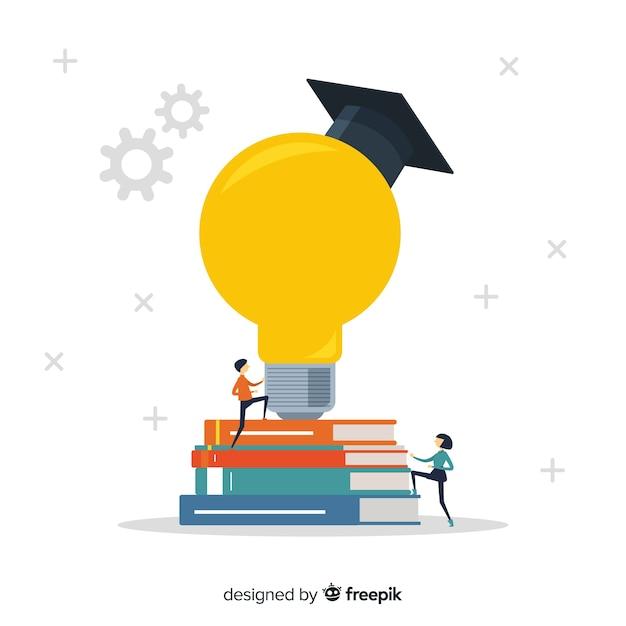 Nowoczesna Koncepcja Edukacji Z Płaska Konstrukcja Premium Wektorów