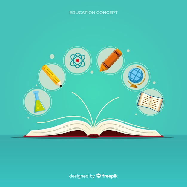 Nowoczesna koncepcja edukacji z płaska konstrukcja Darmowych Wektorów