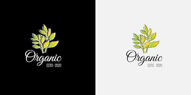 Nowoczesna Koncepcja Logo Ekologicznego Z Roślin I Liści Nadających Się Do Herbaty I Zdrowej żywności Ekologicznej Premium Wektorów