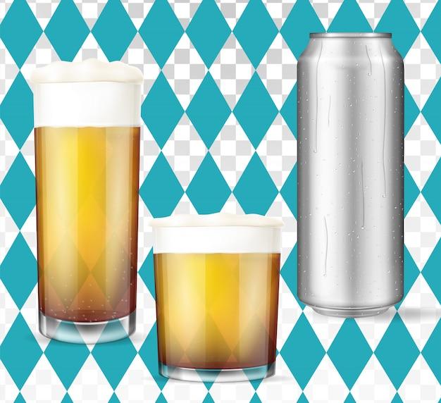Nowoczesna Koncepcja Oktoberfest. Zestaw Do Piwa Premium Wektorów
