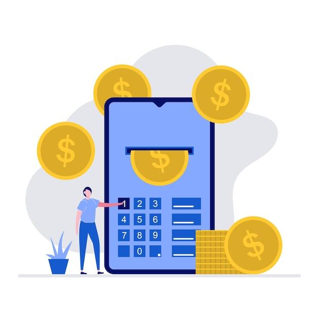 Nowoczesna Koncepcja Płatności Online Z Charakterem. Mężczyzna Za Pomocą Smartfona Do Przesyłania środków. Premium Wektorów