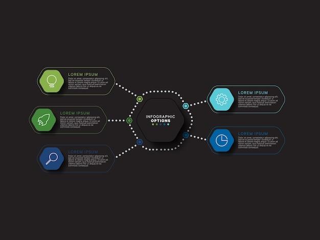 Nowoczesna Koncepcja Szablonu Infografiki Z Pięcioma Sześciokątnymi Relistycznymi Elementami W Płaskich Kolorach Na Czarnym Tle. Dane Wizualizacji Informacji O Procesach Biznesowych W Ośmiu Krokach. Premium Wektorów