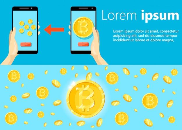 Nowoczesna Koncepcja Technologii Kryptowalut, Giełdy Bitcoinów, Wydobywania Bitcoinów, Bankowości Mobilnej. Dłoń Trzymająca Telefon Komórkowy Z Przenoszeniem Bitcoinów Do Portfela. Premium Wektorów