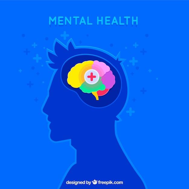 Nowoczesna Koncepcja Zdrowia Psychicznego Z Płaskiej Konstrukcji Premium Wektorów