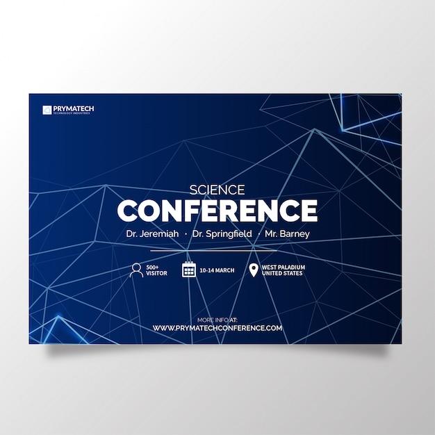 Nowoczesna konferencja naukowa z abstrakcyjnymi liniami Darmowych Wektorów