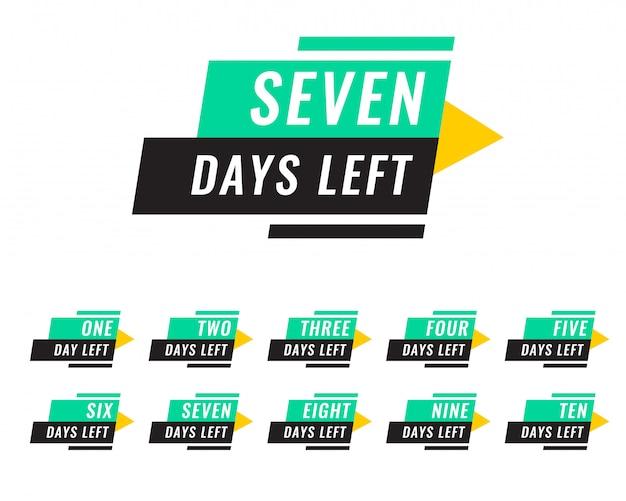Nowoczesna liczba dni pozostawionych tagów Darmowych Wektorów
