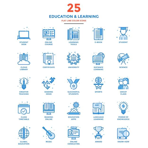 Nowoczesna Linia Płaski Kolor Ikony Edukacji I Uczenia Się Premium Wektorów