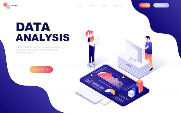 Nowoczesna płaska izometryczna koncepcja analizy danych Premium Wektorów