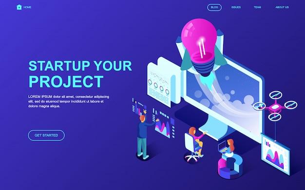 Nowoczesna płaska izometryczna koncepcja startup your project Premium Wektorów