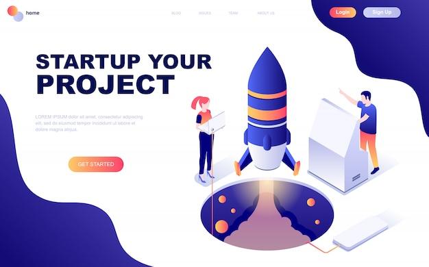 Nowoczesna, płaska izometryczna koncepcja startup your project Premium Wektorów