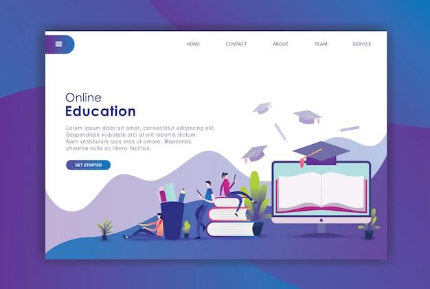 Nowoczesna płaska koncepcja edukacji Premium Wektorów