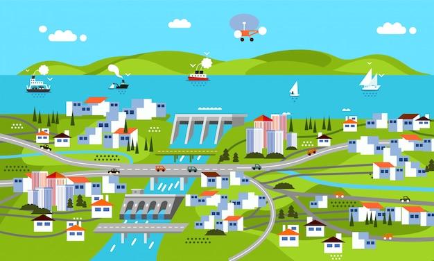 Nowoczesna Płaska Konstrukcja Krajobrazu Z Tamą, Górą, Morzem, Rzeką, Budynkiem, Domami, Statkiem I Innymi Premium Wektorów