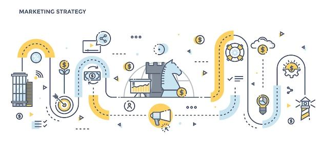 Nowoczesna Płaska Linia Kolor Ilustracja Koncepcja Strategii Marketingowej Premium Wektorów