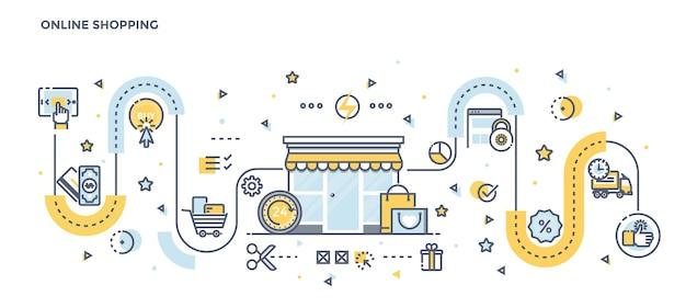 Nowoczesna Płaska Linia Kolor Ilustracja Zakupów Online Premium Wektorów