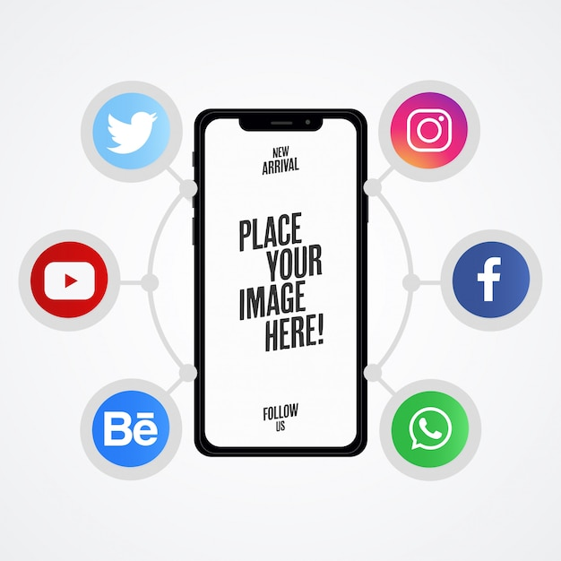 Nowoczesna prezentacja w mediach społecznościowych z makietą telefonu Darmowych Wektorów
