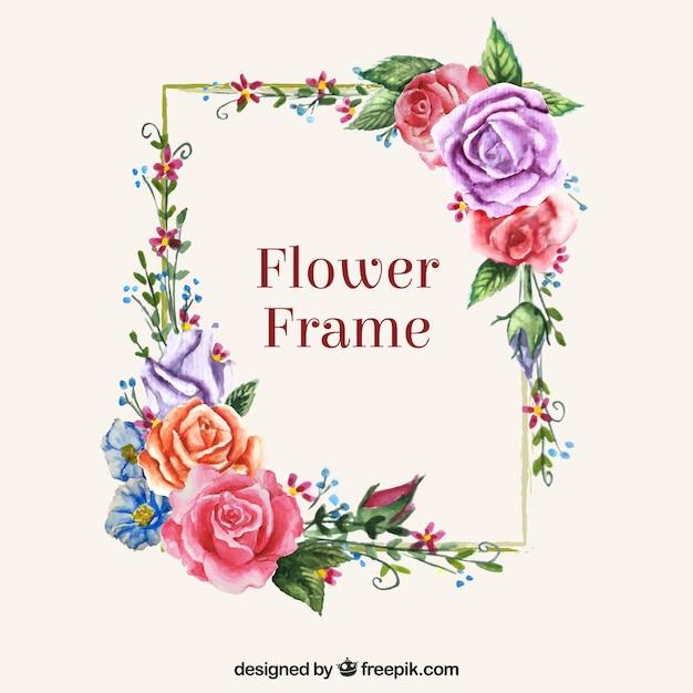 Nowoczesna ramka z kolorowych kwiatów Darmowych Wektorów