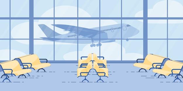 Nowoczesna strefa lotów oczekujących na lotnisko Premium Wektorów