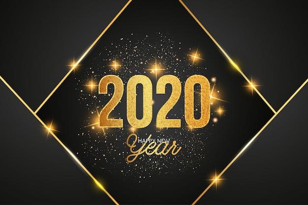 Nowoczesne 2020 celebracja tło z złote kształty Darmowych Wektorów