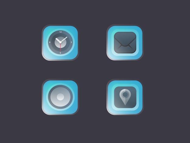 Nowoczesne błyszczący niebieski ikonę Premium Wektorów