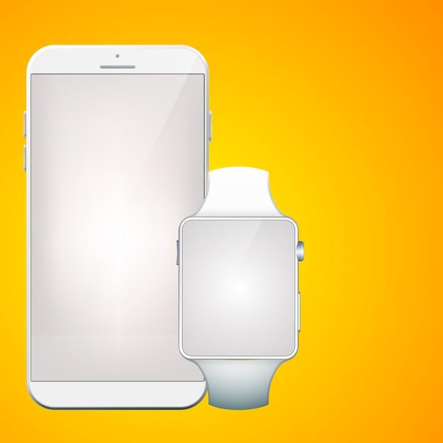 Nowoczesne Cyfrowe Gadżety Zestaw Z Realistycznym Białym Przenośnym Smartfonem I Smartwatchem Na Pomarańczowym Tle Darmowych Wektorów