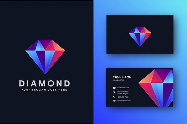 Nowoczesne Diamentowe Logo I Szablon Wizytówki Premium Wektorów