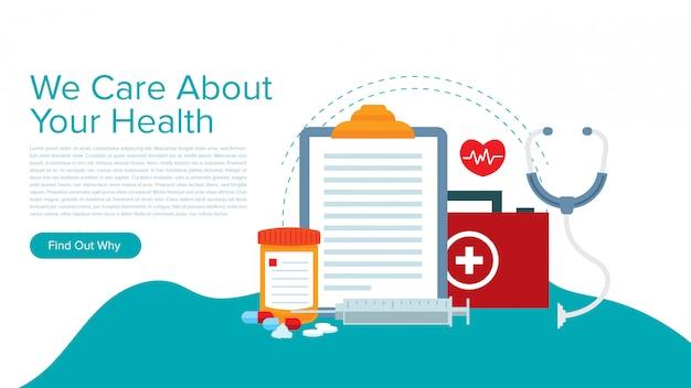 Nowoczesne Ilustracji Wektorowych Do Projektowania Szablonu Strony Docelowej Systemu Opieki Zdrowotnej. Premium Wektorów