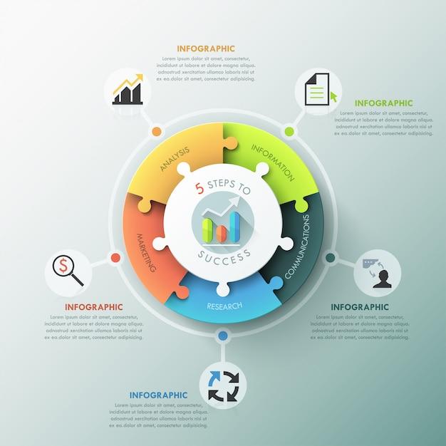 Nowoczesne infographic opcje wykresu puzzli Premium Wektorów