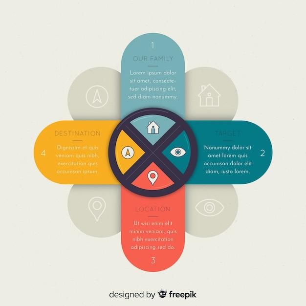Nowoczesne kolorowe infografiki kroki Darmowych Wektorów