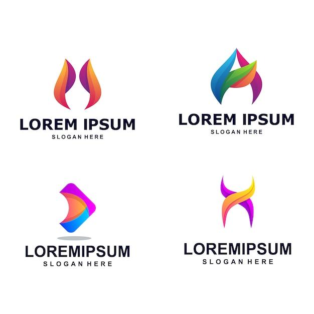 Nowoczesne Kolorowe Streszczenie Listu Logo Pakiet Premium Wektorów