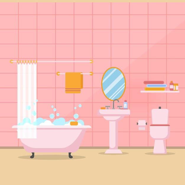 Nowoczesne łazienki wnętrza z meblami w wektorze stylu Premium Wektorów