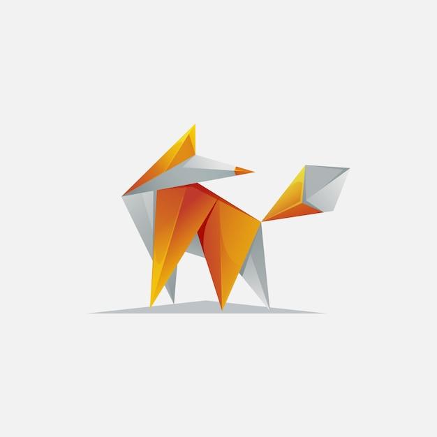 Nowoczesne logo pixel fox Premium Wektorów