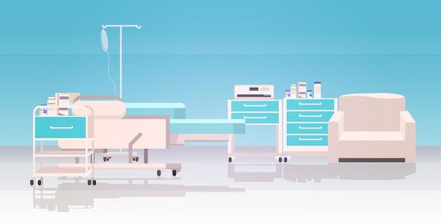 Nowoczesne Meble Kliniki Intensywna Terapia Pokój Pusty Brak Ludzi Szpital Oddział Wnętrze Poziome Premium Wektorów