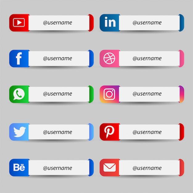 Nowoczesne Media Społecznościowe Niższa Trzecia Kolekcja Premium Wektorów