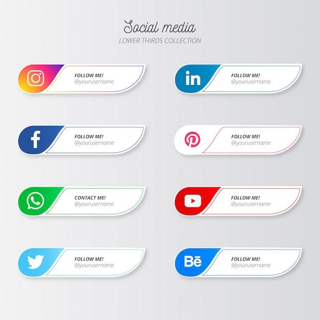 Nowoczesne Media Społecznościowe Niższe Trzecie Darmowych Wektorów